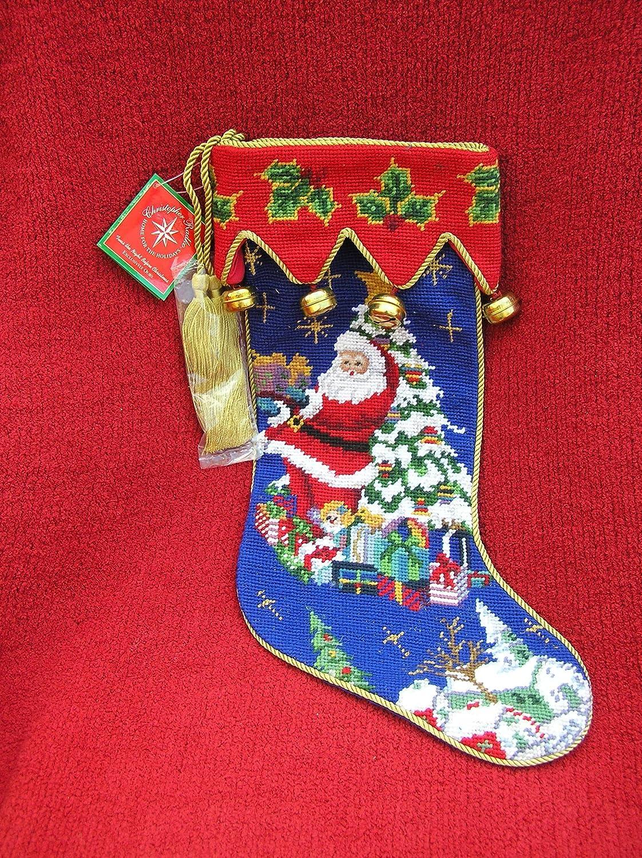Peking Handicraft Lynn Haney Toting The Tree Santa Claus Needlepoint Christmas Stocking