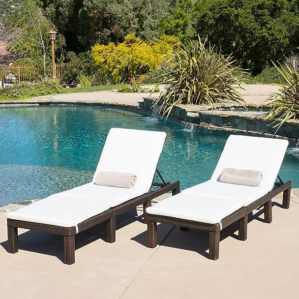 Amazon.com: (Set Of 2) Estrella Outdoor PE Wicker Adjustable Chaise Lounge  Chairs W/ Cushions: Kitchen U0026 Dining