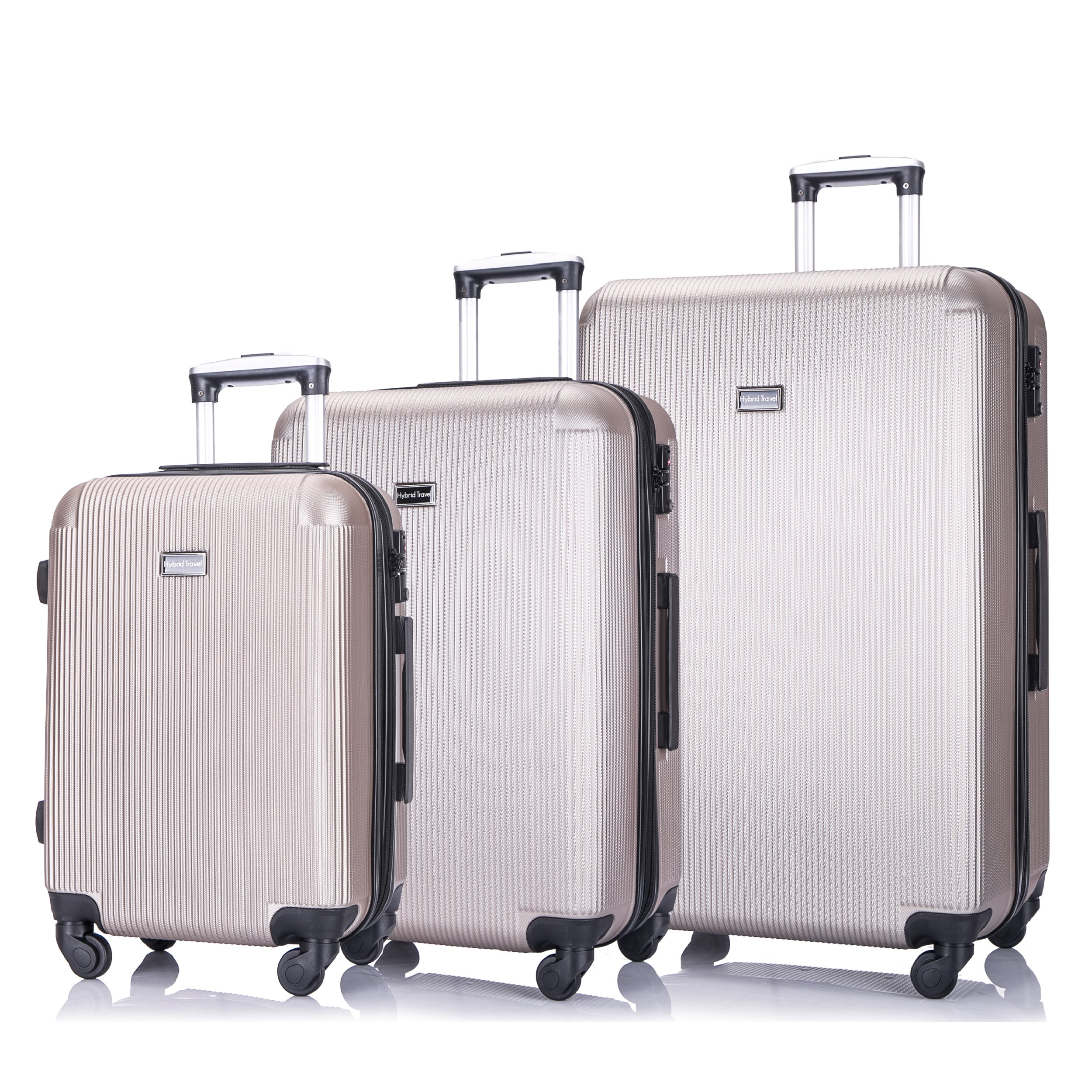 3 Piece Luggage Set Durable Lightweight Hard Case pinner Suitecase 20in24in28in -LUG3-LY71-CHAMPAGNE