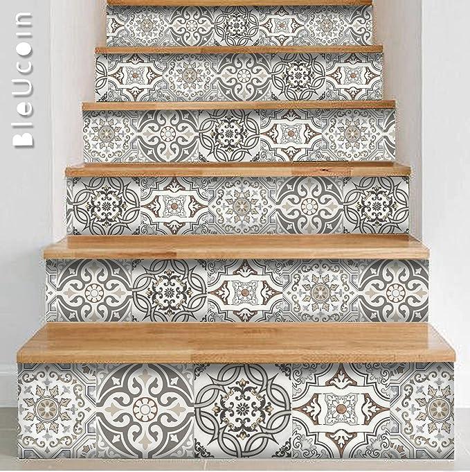 Art Deco Style Fliesen Aufkleber Für Küche Und Badezimmer Backsplash,  Abnehmbare Treppe Riser Abziehbild, Peel Und Stick Home Decor U003d Packung Von  44 (10cm X ...