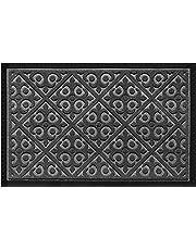 Elogio Doormat Indoor Outdoor Doormats Outside Effective Scraping of Dirt Patio Grass Snow Dust Grit Removal Ideal Low Profile Door Mat Front Door Entrance Mat Rug Non Slip Rubber (Gray) 17.5''x 27''