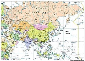 Politische Karte Asien.Asien Politische Karte Papier Laminiert A0 Größe 84 1 X 118 9 Cm