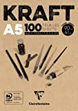 Clairefontaine 96544C Blocco Incollato Kraft, A5, 100 Fogli, Marrone