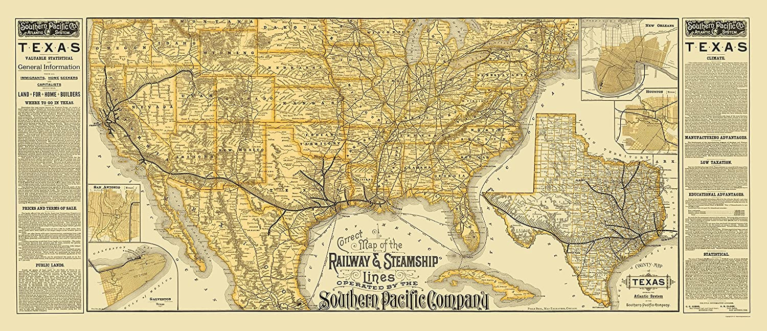 Southern Pacific Railroads Steamship Lines 1884-23 x 53 Old Railroad Map