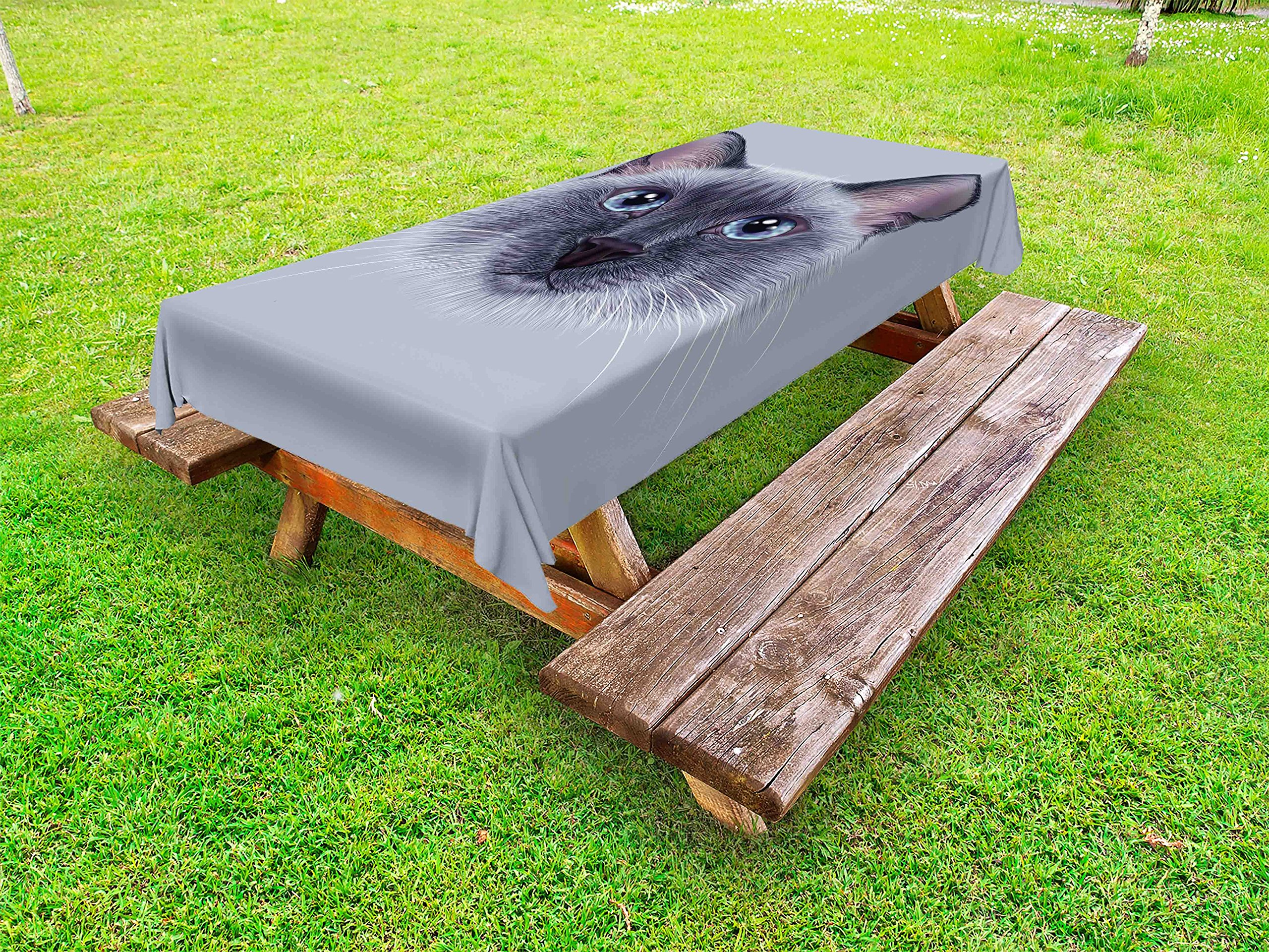 Ambesonne Animal Outdoor Tablecloth, Portrait Image of Thai Siamese Cat with Retro Style Lettering Artwork, Decorative Washable Picnic Table Cloth, 58 X 120 Inches, White Sky Blue and Grey by Ambesonne