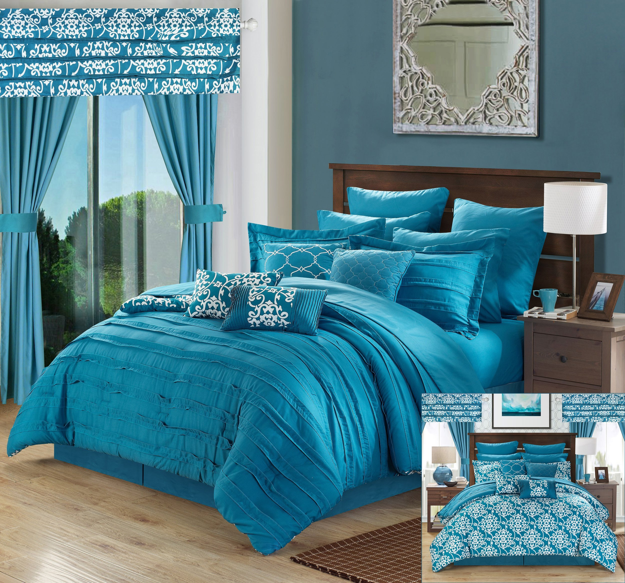 Perfect Home 24 Piece Orinda Complete Pleated ruffles and Reversible Printed Queen Bed In a Bag Comforter Set with window treatement, Teal. Sheets Included