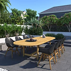 Amazonia San Vito 9-Piece Outdoor Oval Dining Table Set | Certified Teak | Ideal for Patio and Indoors