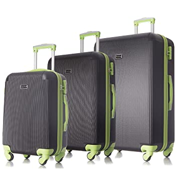 64591cc8a3cf 3 PC Luggage Set Durable Lightweight Hard Case pinner  Suitecase-LUG3-LY71VAL-BLACK/GREE