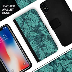 Green and Teal Floral Velvet v2 iPhone Leather Folding Credit Card/Wallet Case - iPhone 8+ or 7+