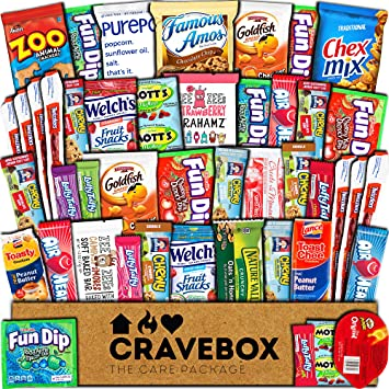 CraveBox Care Package (45 Count) Snacks Cookies Bars Chips Candy Ultimate  Variety Gift Box Pack