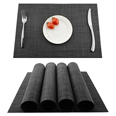 Placemats Heat-resistant Dining Table Place mats Anti-skid Washable PVC Kitchen Table Mats By KOKAKO ,Set of 4 (Dark Gray)