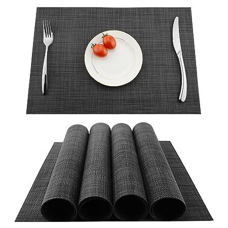 KOKAKO Platzsets (4er Set), Rutschfest Abwaschbar Tischsets,PVC Abgrifffeste Hitzebeständig Platzdeckchen,Schmutzabweisend un