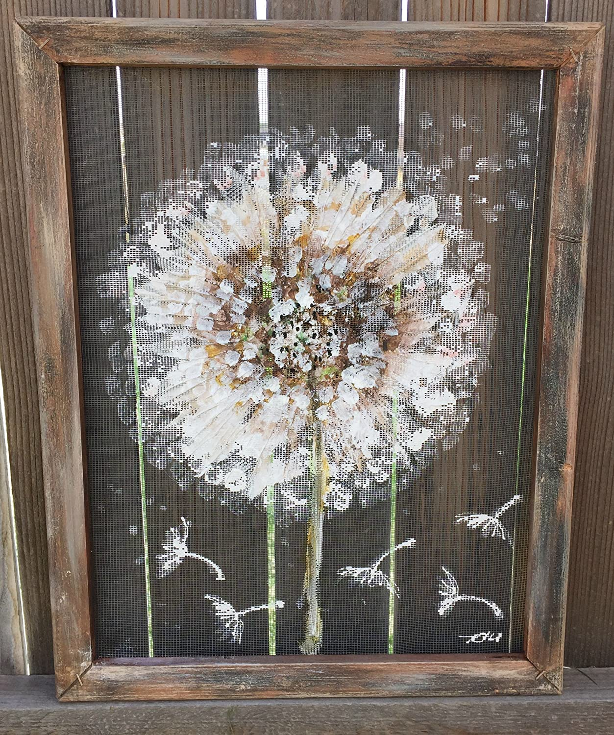 handmade outdoor art window screen country style rustic art hand painted screen art Make a wish Dandelion recycled