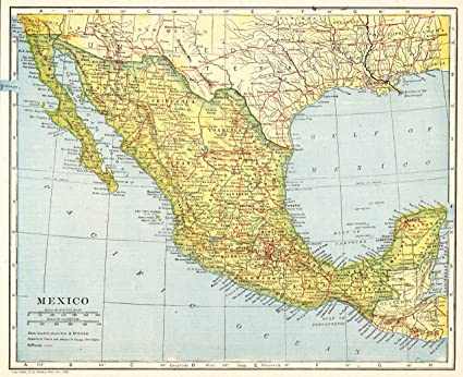 Amazon Com 1921 Antique Mexico Map Original Vintage Map Of Mexico