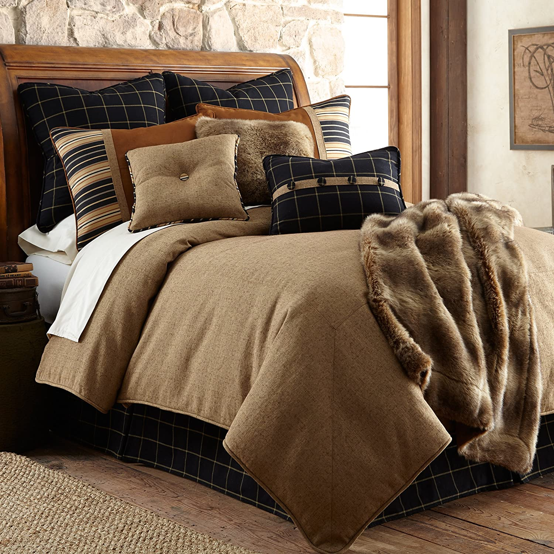 HiEnd Accents Ashbury Comforter Set, King, Brown