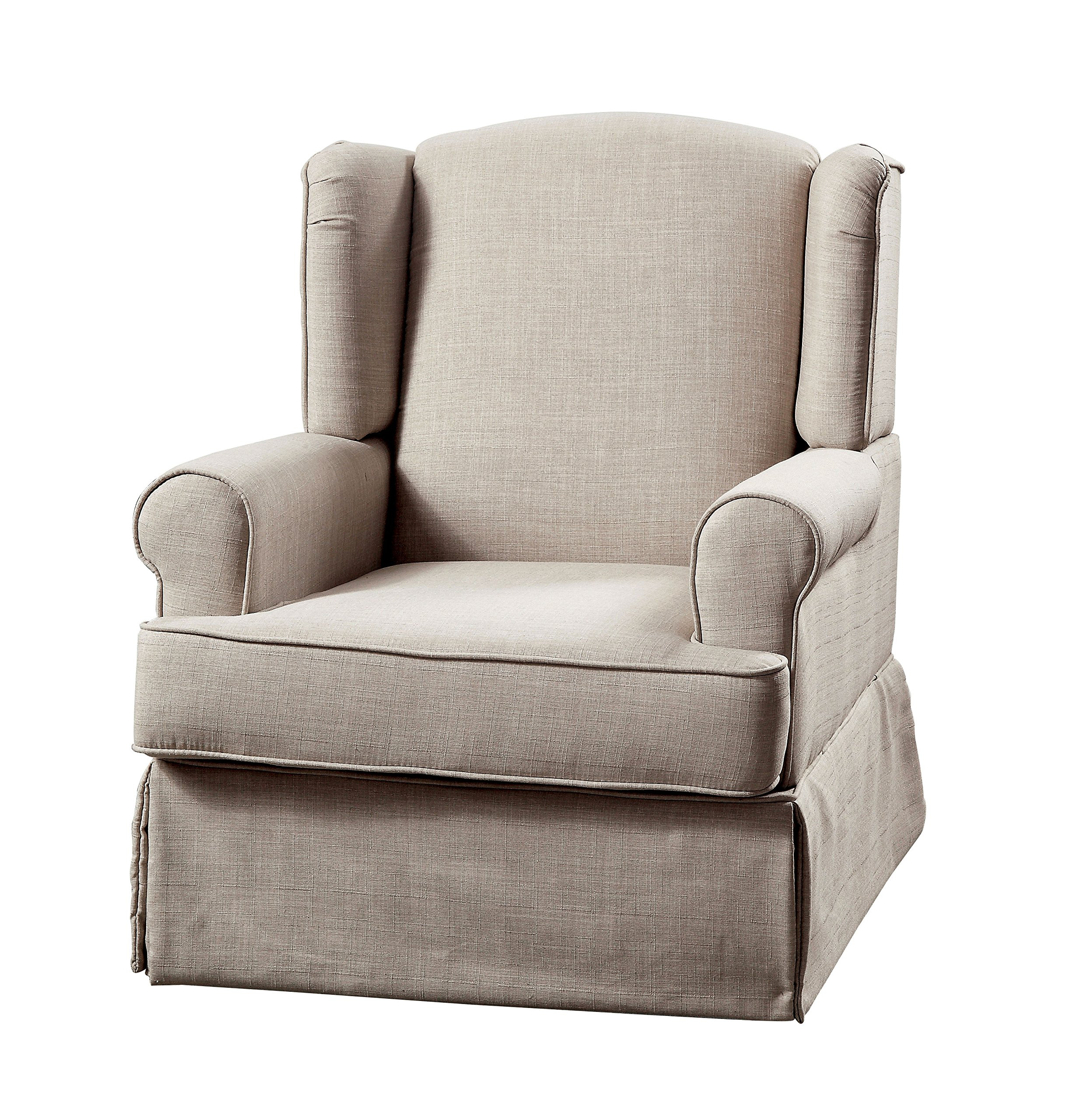 HOMES: Inside + Out IDF-RC6508BG Imogen Transitional 360 Glider and Rocker Chair, Beige