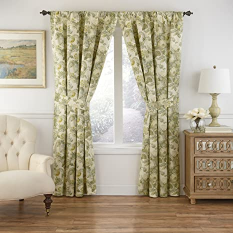 Waverly Spring Bling Rod Pocket Curtains For Living Room Single Panel 63x52 Platinum Home Kitchen