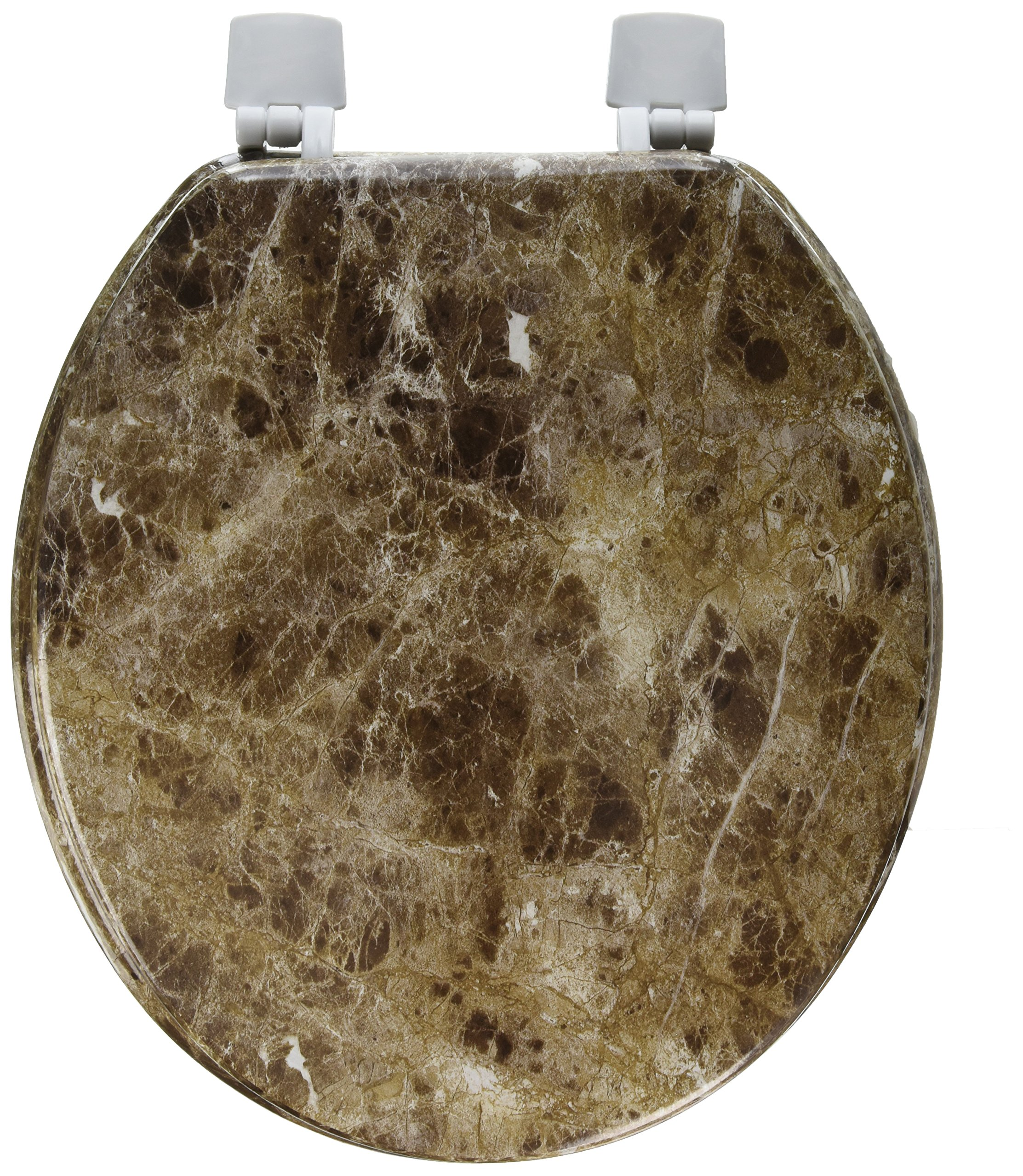 Uniware 17 Inch Marble Pattern Toilet Seat (Brown) by UNIWARE