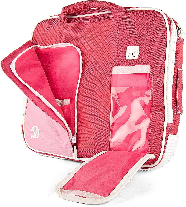 "Vangoddy NBKLEA734 Pindar Messenger Bag for 13"" to 14"" Tablets and Laptops, Pink/White"