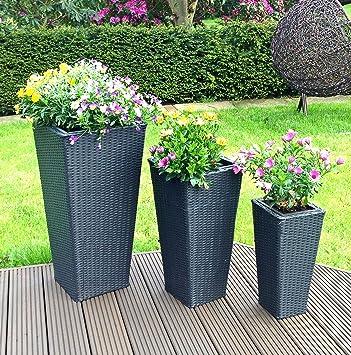 GroBartig 3er Set Rattan Blumentöpfe Blumen Pflanzen Kübel Ständer Garten Blumentopf  In Schwarz Anthrazit Für Innen Und