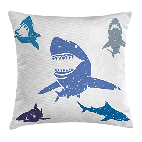 Amazon Ambesonne Shark Throw Pillow Cushion Cover Grunge Style Mesmerizing Shark Decorative Pillow