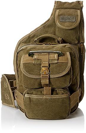 23ad2c11b884 GK Eurosport Canvas Urban Sling Crossbody Backpack Bag (Olive ...