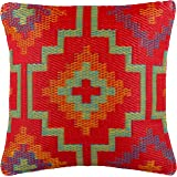 """Fab Habitat Outdoor Accent Pillow, UV & Weather Resistant, Recycled Plastic - Lhasa - Orange & Violet (20"""" x 20"""")"""