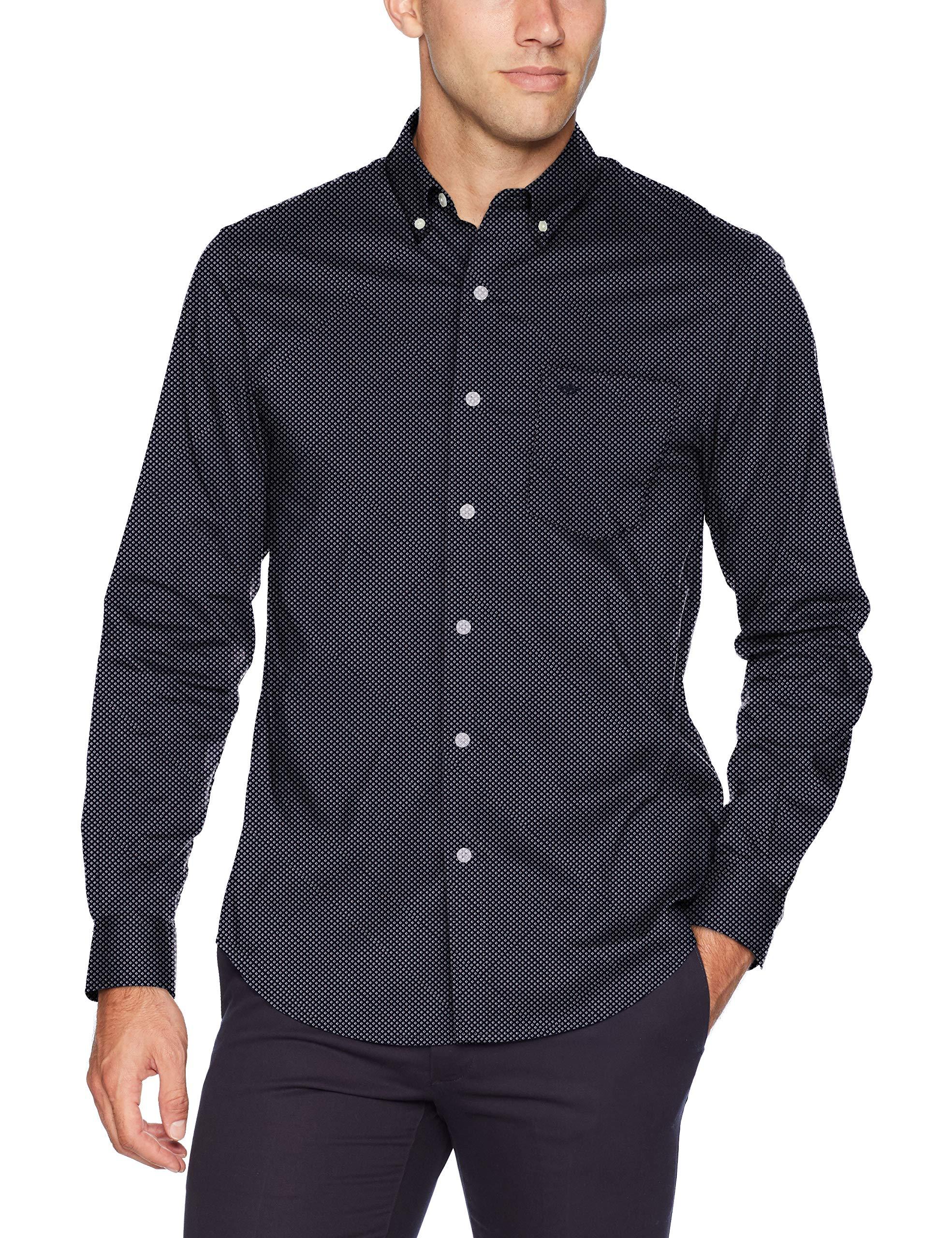 Dockers Men's Long Sleeve Button Front Comfort Flex Shirt, Pembroke Diamonds Print Large