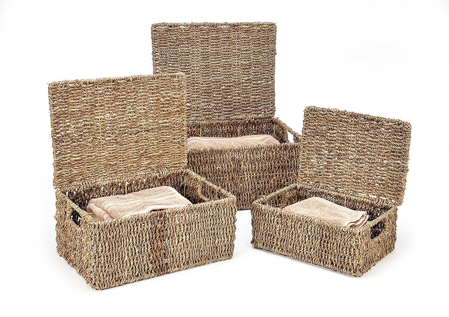 Trademark Innovations Rectangular Seagrass Baskets Lids (Set of 3), Brown