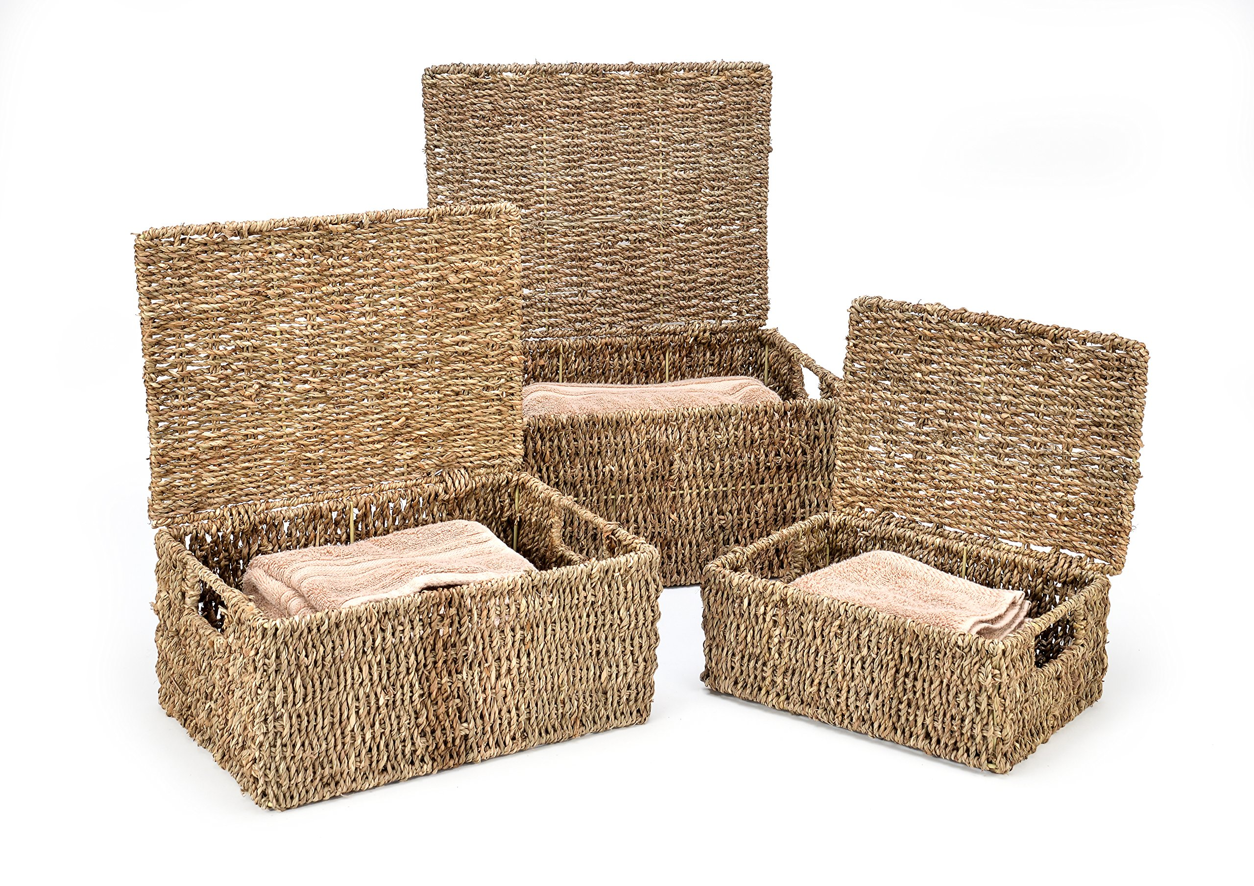 889f8114b4f9 Amazon.com  Trademark Innovations Rectangular Seagrass Baskets Lids (Set of  3) Brown  Home   Kitchen