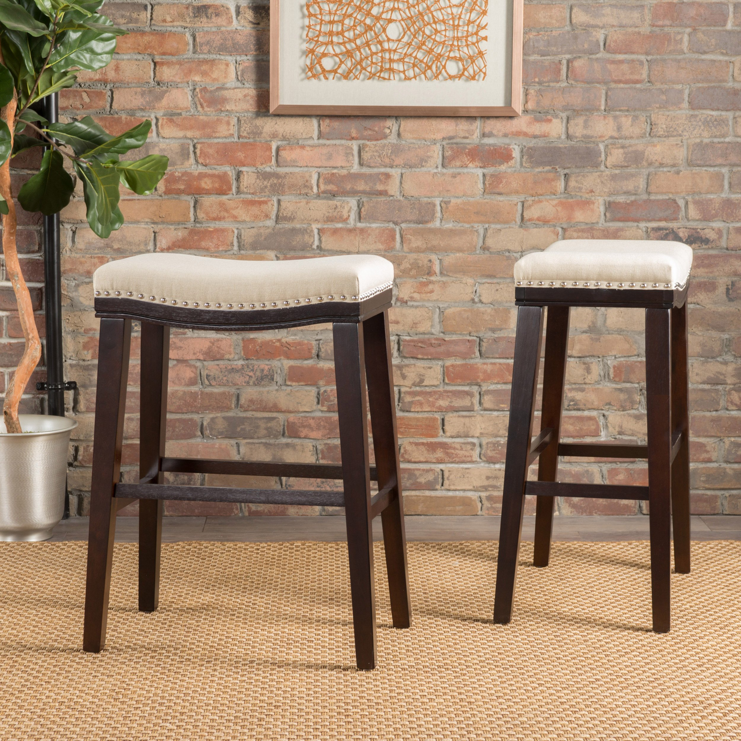 Christopher Knight Home 300575 Rosalie Beige Fabric Saddle Stool (Set of 2) by Christopher Knight Home