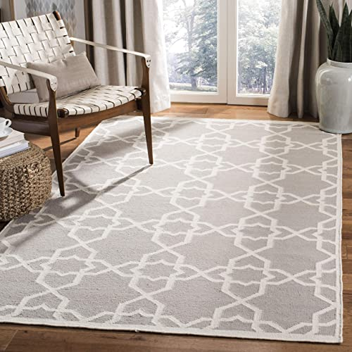 Safavieh Dhurries Collection DHU548G Hand Woven Grey and Ivory Premium Wool Area Rug 4 x 6