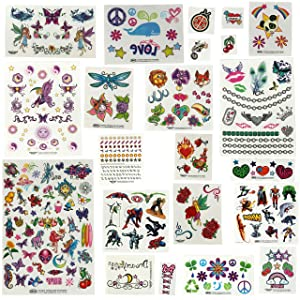 Savvi Mega Value Temporary Tattoo Kit - 625 Fake Tattoos for Toddlers and Girls and Boys of All Ages