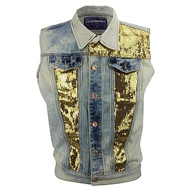 72b9220fca Mens New Blue Acid Wash Gold Sequin Denim Jeans Collar Waistcoat Vintage  Biker Vest Gillet  Blue Washed