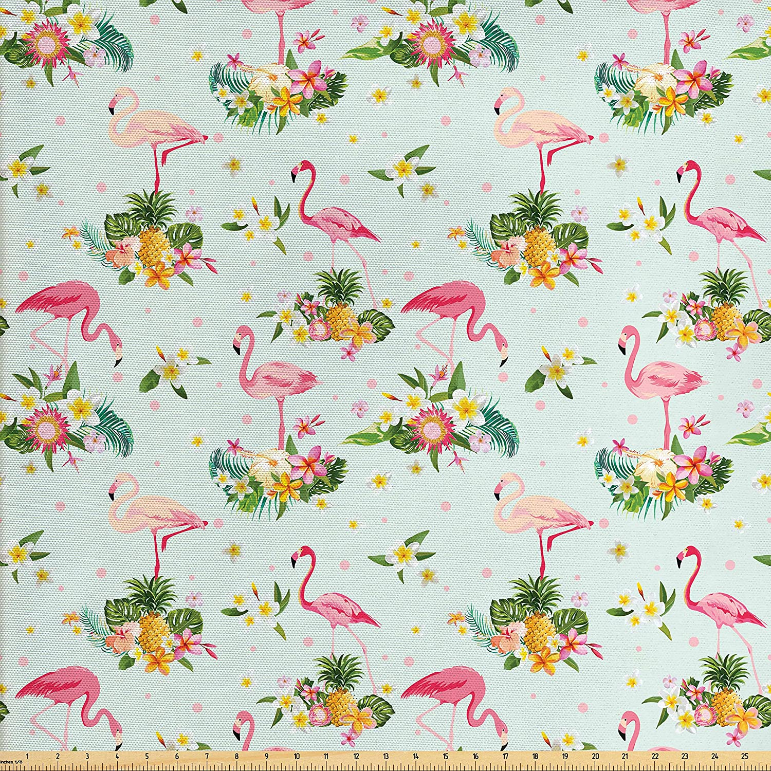 Amazon Com Ambesonne Flamingo Fabric By The Yard Flamingo Bird Tropical Flowers Fruits Pineapples Vintage Style Artwork Decorative Fabric For Upholstery And Home Accents Yellow Green Pale Pink