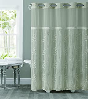 hookless rbh32my128 tan palm leaves embroidery shower curtain with peva tab