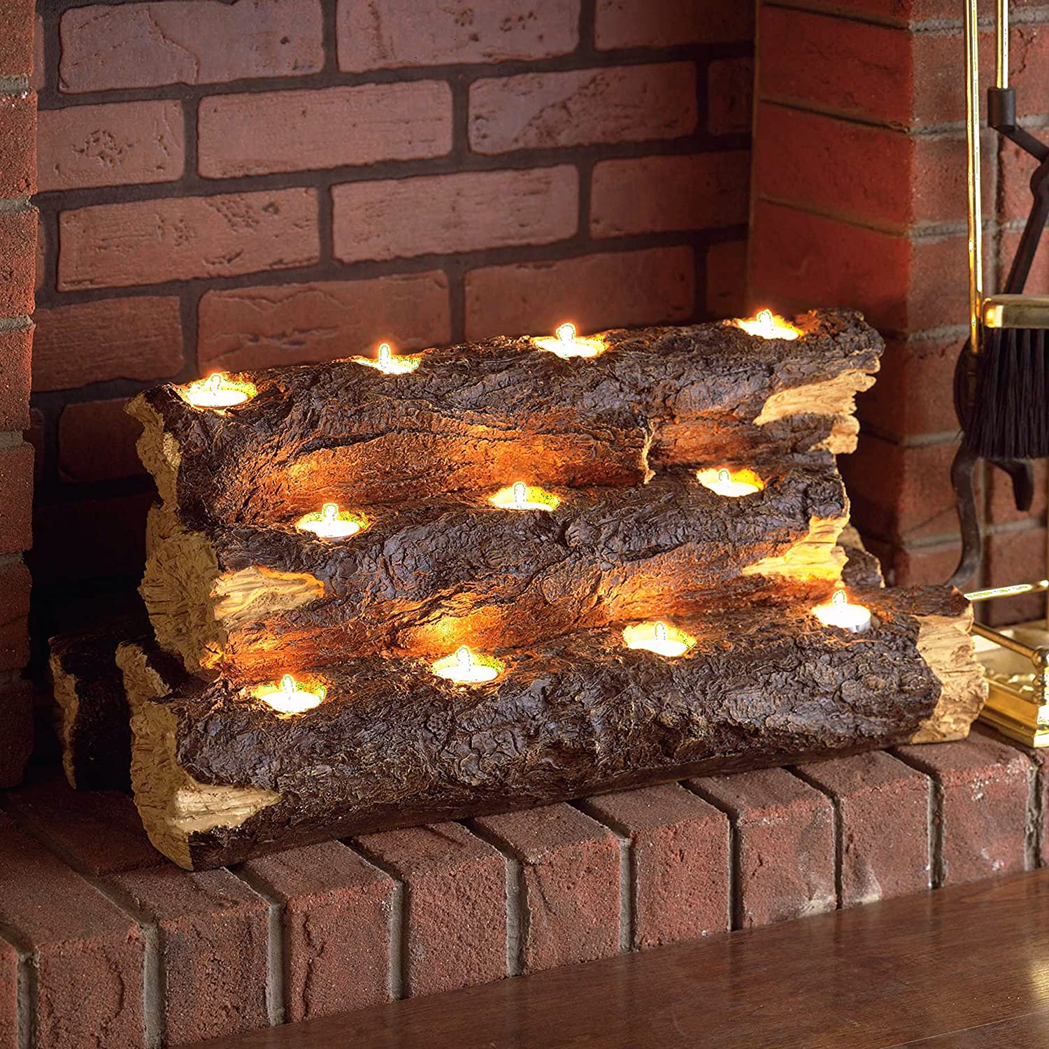 Resin Tealight Fireplace Log Candle Holder Amazoncouk Kitchen Home