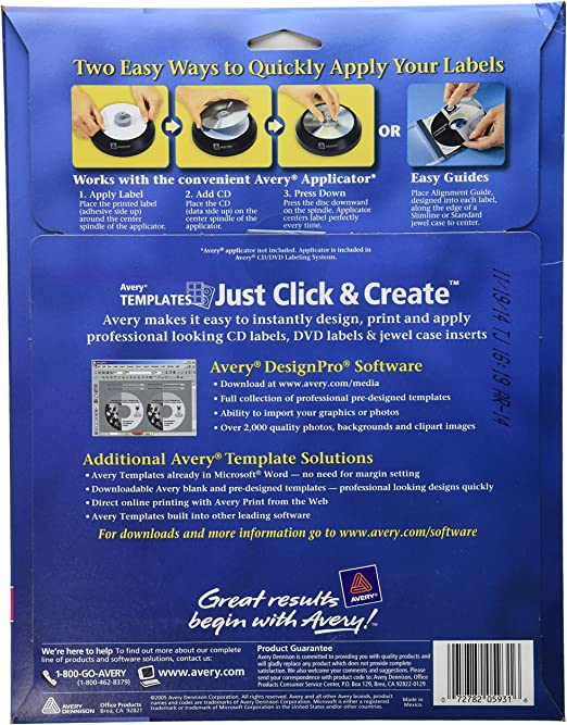 Amazon Com Avery 5931 Laser Labels Shuttered Jewel Case Inserts With Software For Cd Dvd Office Products