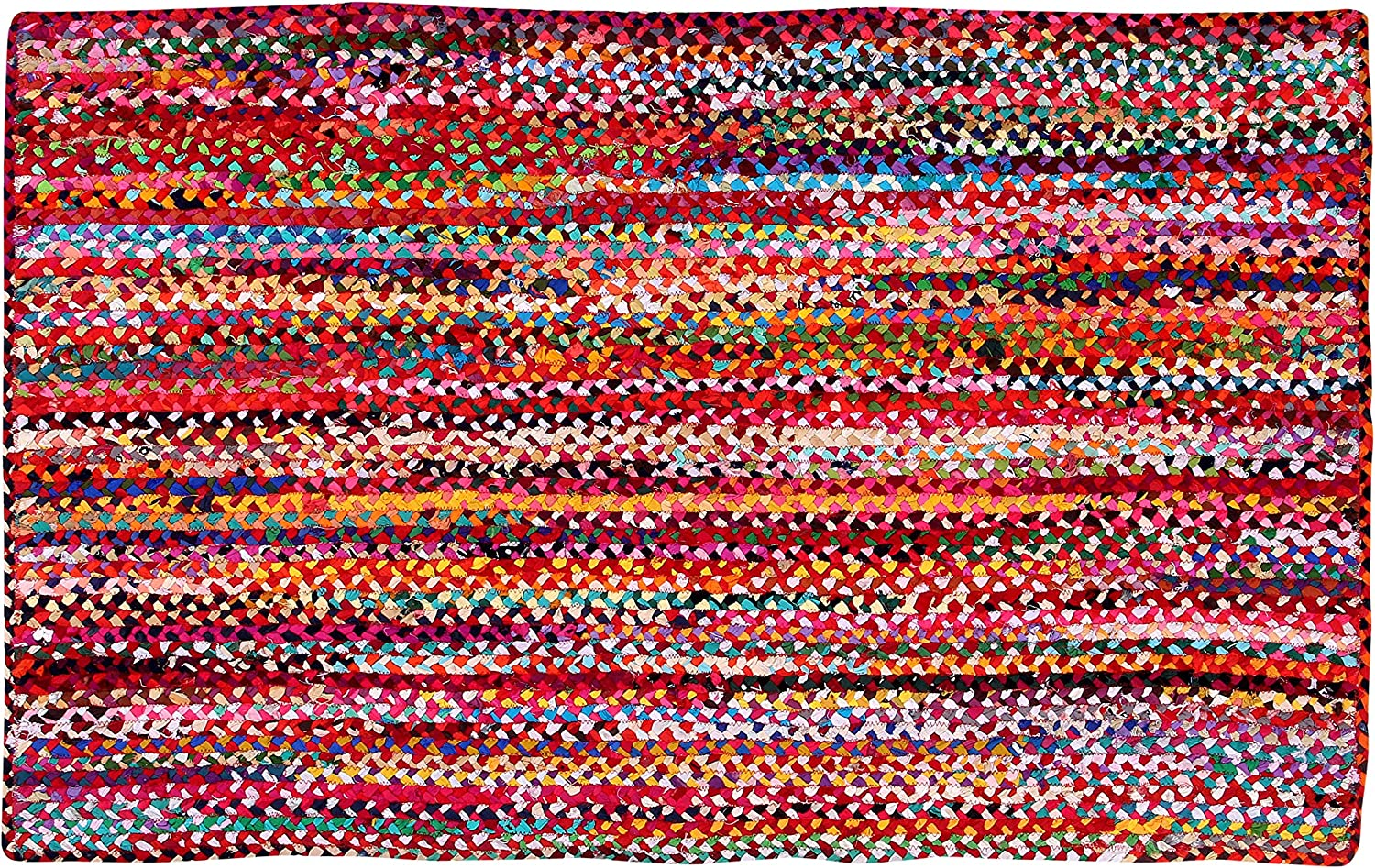 Hand Made Eco Friendly Recycled Braided Multicolor Chindi Cotton Rugs 3x5 feet Rectangle Area Rugs - Boho Bohemian Area Rugs- Reversible Area Rugs- Braided Multi Chindi Cotton Area Rugs- Multi Colors