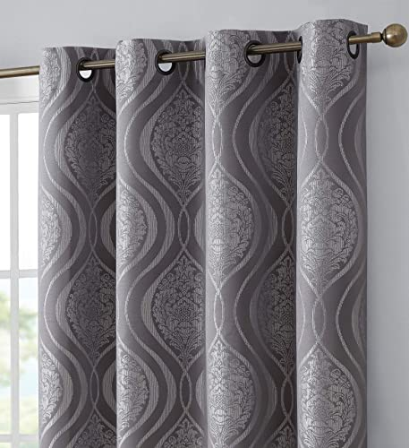 HLC.ME Montero Damask 100 Complete Blackout Heavy Thermal Insulated Energy Savings Heat Cold Blocking Grommet Curtain Drapery Panels for Office, Bedroom Dining Room, 2 Panels 52 W x 96 L, Grey