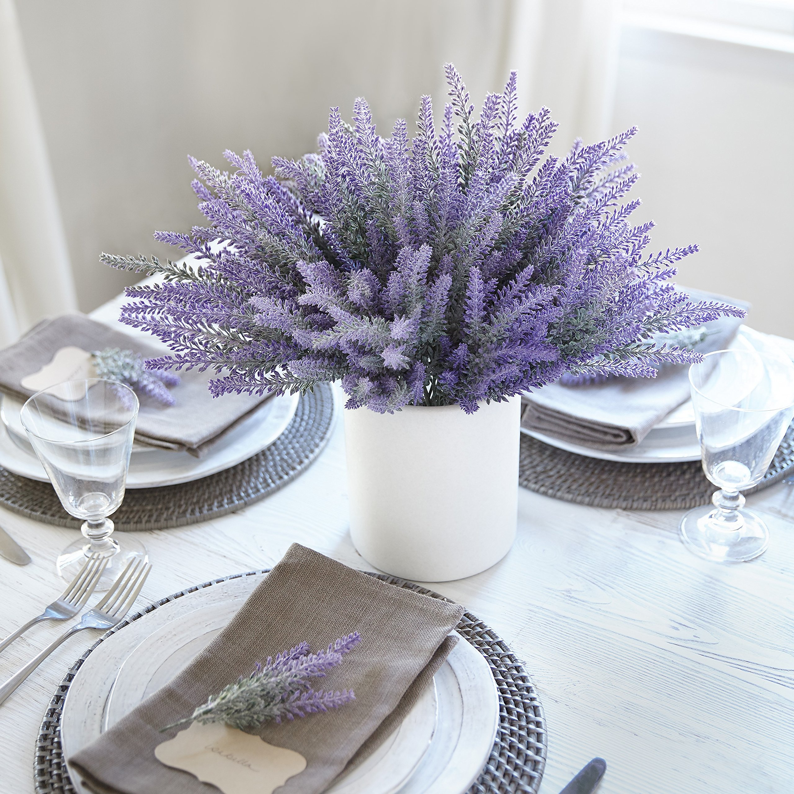 Butterfly Craze Artificial Lavender Flowers 4 large pieces to make a bountiful flower arrangement nearly natural fake plant to brighten up your home party and wedding decor (4 Pieces)