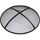 Sunnydaze Outdoor Fire Pit Spark Screen Cover Guard Accessory - Round Heavy-Duty Steel Backyard Mesh Lid Ember Arrester with