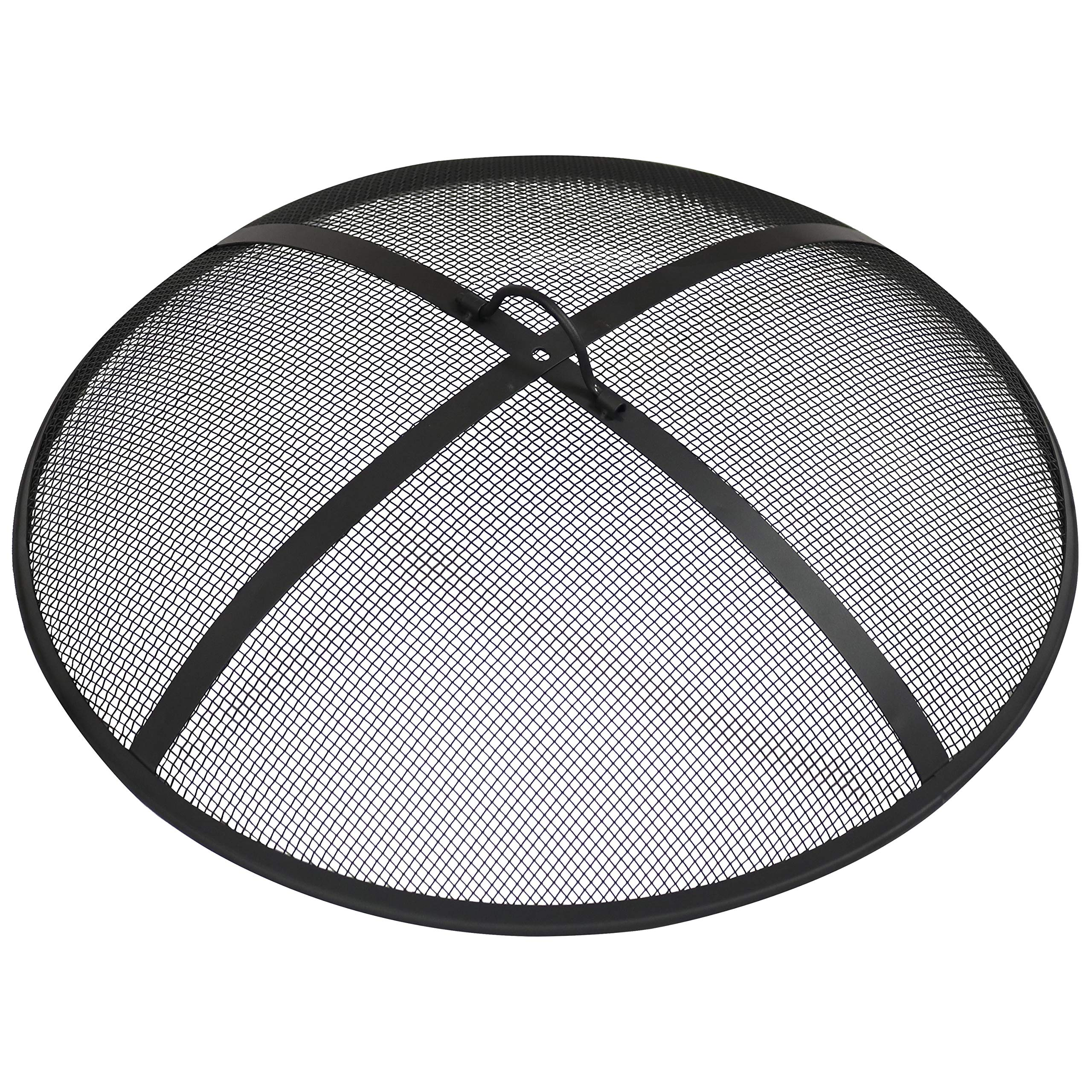 Sunnydaze Outdoor Fire Pit Spark Screen Cover Guard Accessory - Round Heavy-Duty Steel Backyard Mesh Lid Ember Arrester with Handle - 24-Inch Diameter by Sunnydaze Decor
