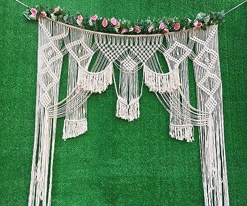 Winterdemoon Wedding Backdrop Macrame Curtain Bohemian Wedding Decor Macrame Wall Hanging Tapestry