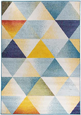 Teppich 10mm Dreieck Triangle Geometrische Muster abstrakt blau grau ...