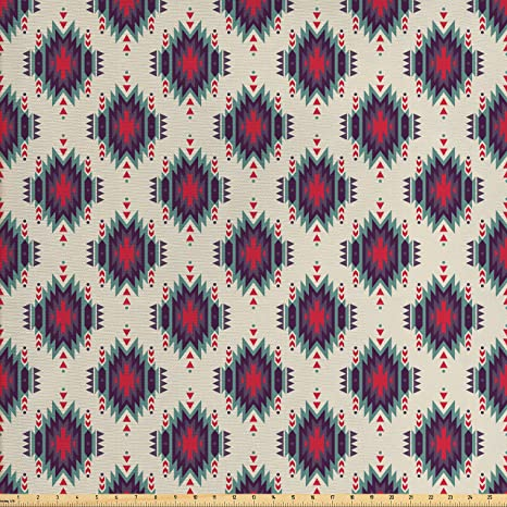 Amazon Com Ambesonne Native American Fabric By The Yard Colorful