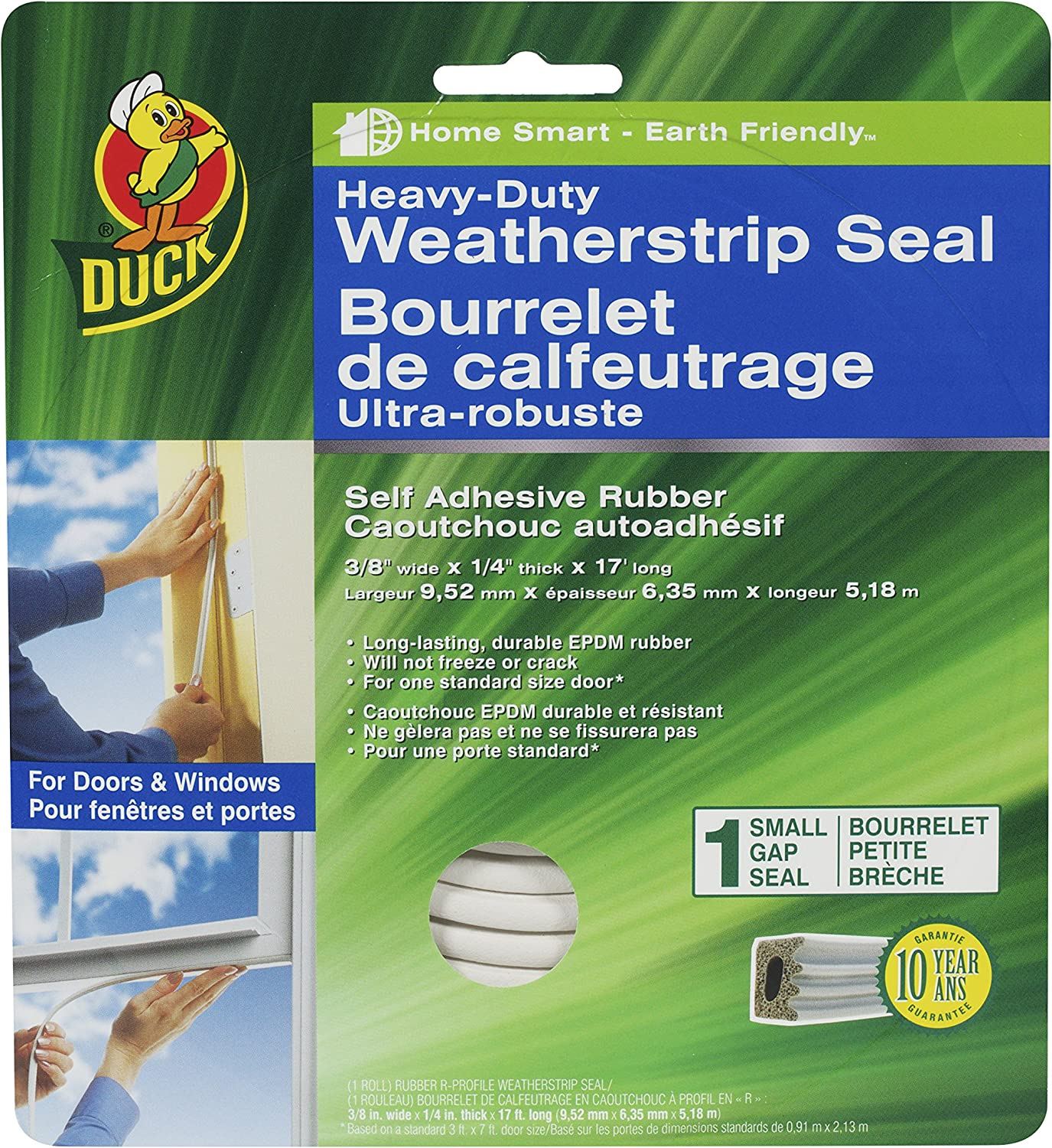 Duck Brand Heavy-Duty Self Adhesive Weatherstrip Seal for Small Gap, 3/8-Inch x 1/4-Inch x 17-Feet, 1 Seal, 282439