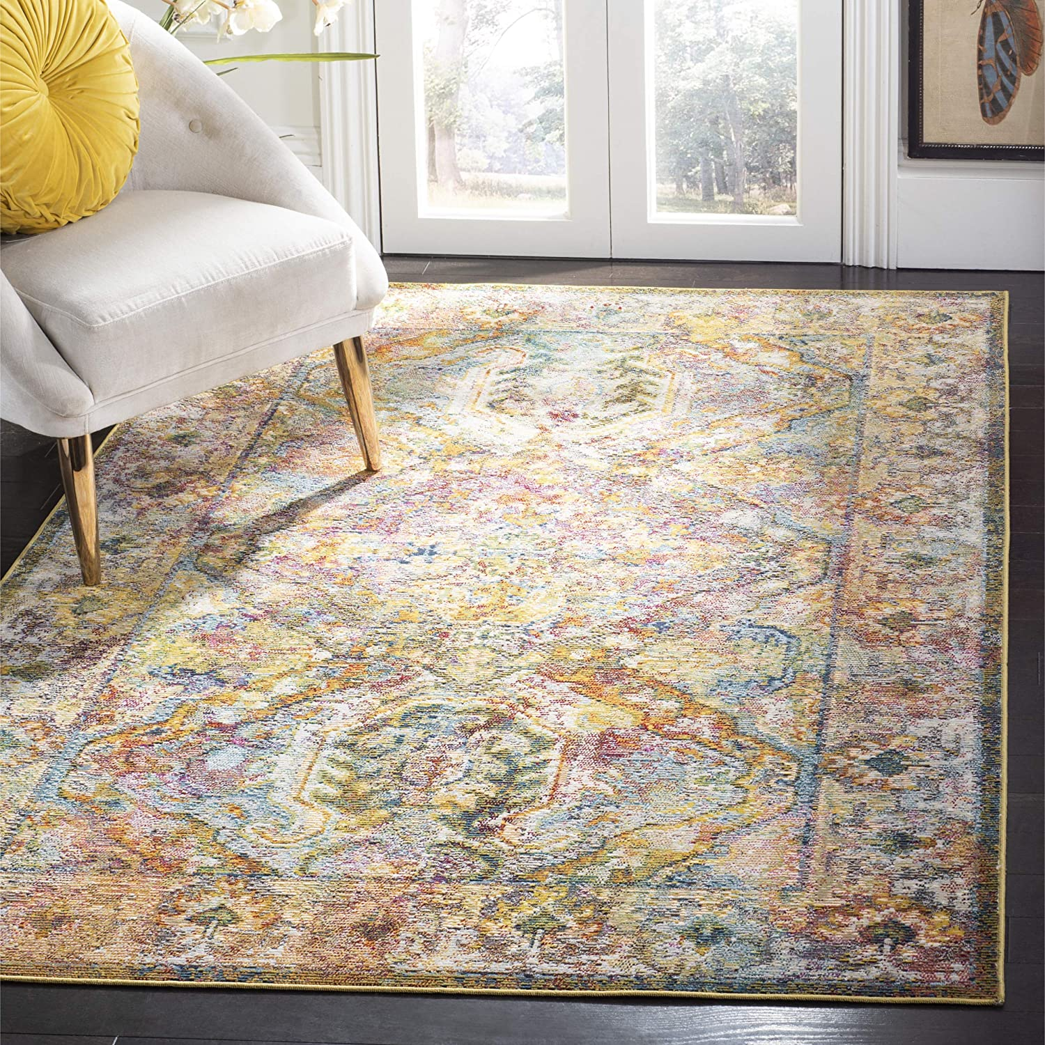 Safavieh Crystal Collection CRS516A Light Blue and Orange Distressed Bohemian Area Rug (3' x 5')