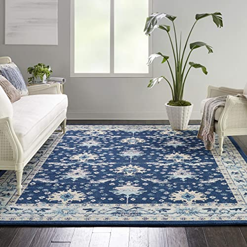 Nourison TRA10 Tranquil Oriental Traditional Navy Ivory Area Rug 8 10 X 11 10 , 9 x 12