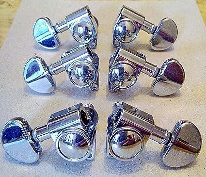 Clavijas COMPATIBLES Grover 3 + 3 cromado para guitarra eléctrica y acústica